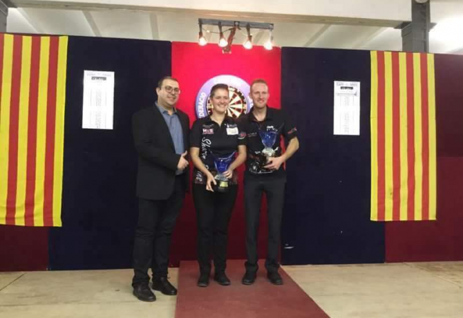 6th CATALONIA OPEN DARTS winners: <br>Chris Landman (NED) and Sharon Prins (NED)<br>All results / Todos los resultados